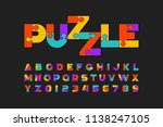 puzzle font  colorful jigsaw... | Shutterstock .eps vector #1138247105