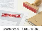 a red stamp on a document  ... | Shutterstock . vector #1138249802