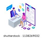 isometric woman during job... | Shutterstock .eps vector #1138269032