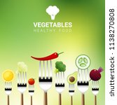vegetables on forks isolated on ... | Shutterstock .eps vector #1138270808