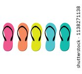 Colorful Flip Flops Icons Set