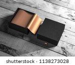 black opened gift box packaging ... | Shutterstock . vector #1138273028