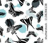 fun seamless butterfly kite... | Shutterstock .eps vector #1138286138
