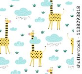seamless pattern with cute... | Shutterstock .eps vector #1138293818
