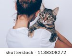 Stock photo unrecognizable young woman holding her striped cat which looking seriously owner hugging pet on 1138308272