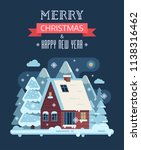 new year and christmas card... | Shutterstock . vector #1138316462