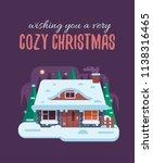 wish you cozy christmas card... | Shutterstock . vector #1138316465