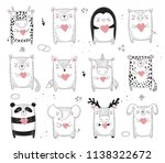 vector line drawing collection... | Shutterstock .eps vector #1138322672