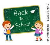 school kids with text of back... | Shutterstock .eps vector #1138347542