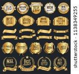 super sale retro golden badges... | Shutterstock .eps vector #1138349255