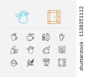 tea icons set. coffee beans and ...