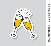 champagne sticker doodle icon | Shutterstock .eps vector #1138375196