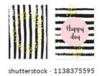 gold glitter dots with sequins. ... | Shutterstock .eps vector #1138375595