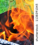 burning firewood in a brazier | Shutterstock . vector #1138391045