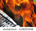 burning firewood in a brazier | Shutterstock . vector #1138391048