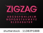 Zigzag Font Stitched With...