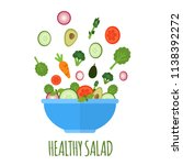 salad with fresh vegetables in... | Shutterstock .eps vector #1138392272