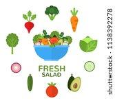 fresh salad in bowl for... | Shutterstock .eps vector #1138392278