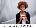 portrait of a pretty african... | Shutterstock . vector #113839336