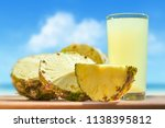 pineapple and pineapple juice... | Shutterstock . vector #1138395812