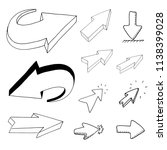 hand drawn arrows click doodles ... | Shutterstock .eps vector #1138399028