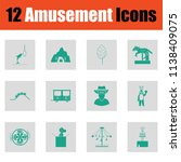 amusement park icon set. green... | Shutterstock .eps vector #1138409075