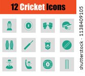 cricket icon set. green on gray ... | Shutterstock .eps vector #1138409105
