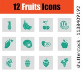 set of fruits icons. green on... | Shutterstock .eps vector #1138409192