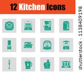 kitchen icon set. green on gray ... | Shutterstock .eps vector #1138409198