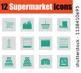 supermarket icon set. green on... | Shutterstock .eps vector #1138410695