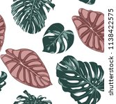 tropical jungle leaves. vector... | Shutterstock .eps vector #1138422575