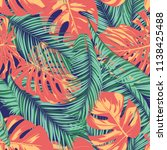 summer exotic floral tropical... | Shutterstock .eps vector #1138425488