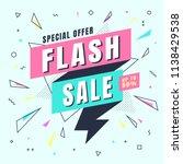 flash sale banner memphis style ... | Shutterstock .eps vector #1138429538