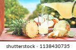 pineapple  with pineapple juice. | Shutterstock . vector #1138430735