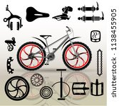 bicycles. set of isolated... | Shutterstock .eps vector #1138455905