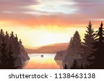 wild terrain with lake  river ... | Shutterstock .eps vector #1138463138