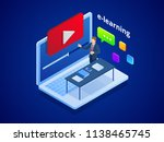 isometric online video training ... | Shutterstock .eps vector #1138465745