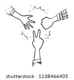 rock paper scissor game | Shutterstock .eps vector #1138466405