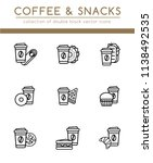 coffee disposable paper cup and ... | Shutterstock .eps vector #1138492535