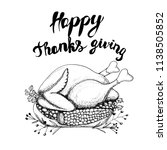 happy thanksgiving card. hand...   Shutterstock .eps vector #1138505852