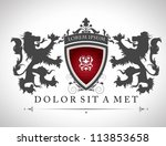 vintage emblem with lions with... | Shutterstock .eps vector #113853658
