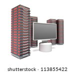Hosting Server Farm and monitor - stock photo