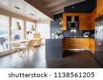 front view modern wooden...   Shutterstock . vector #1138561205