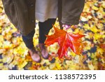 autumn mood   teen girl holding ... | Shutterstock . vector #1138572395