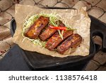 grilled meat. fried pieces of... | Shutterstock . vector #1138576418