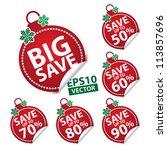 big save christmas ball sticker ... | Shutterstock .eps vector #113857696