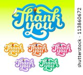 set of colorful thank you... | Shutterstock .eps vector #113860672