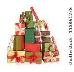 big stack of christmas presents ... | Shutterstock . vector #113861278