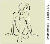 art sketch of sitting naked...