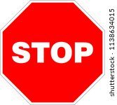 octogonal stop sign. vector... | Shutterstock .eps vector #1138634015